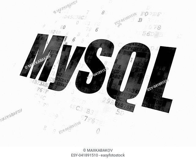 Software concept: Pixelated black text MySQL on Digital background