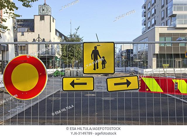 Detour sign for pedestrian sidewalk near roadwork site, Finland