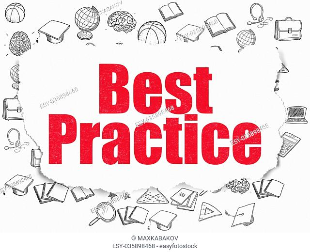 Education concept: Best Practice on Torn Paper background