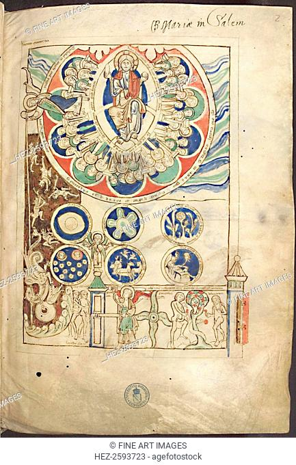 Miniature Initium creaturae dei from Liber Scivias by Hildegard of Bingen, ca 1220. Found in the collection of the Library of the Ruprecht Karl University