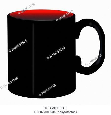 A simple black plain coffee mug over a white background