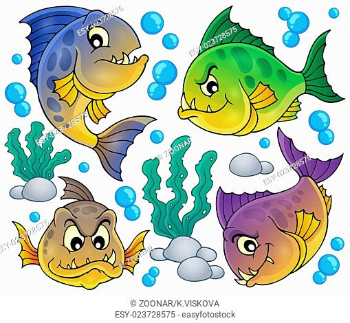 Piranha fishes collection - picture illustration