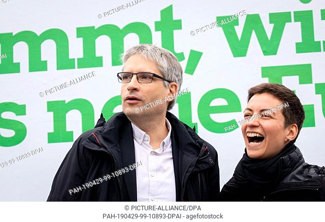 29 April 2019, Berlin: Ska Keller and Sven Giegold, the top candidates of Bündnis90/Die Grünen for the European elections