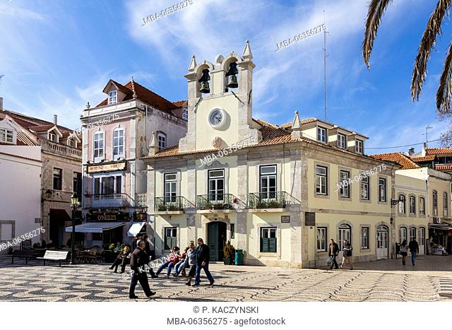 Architecture,bell tower,blue sky,Building Exterior,Cascais,City,Colour Image,Curve,Day,Dom Pedro,Europe,Famous Place,Front View,Historic,Incidental People
