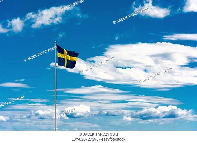 Swedish flag on sky background