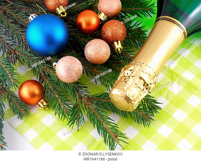 champagne bottle and christmas baubles, Merry Christmas and Happy New Year