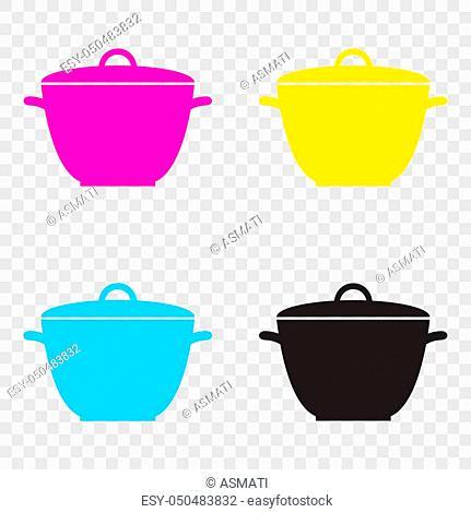 Saucepan simple sign. CMYK icons on transparent background. Cyan, magenta, yellow, key, black