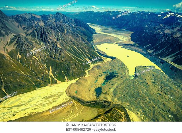 Aerial photo of Southern Alps in New Zealand