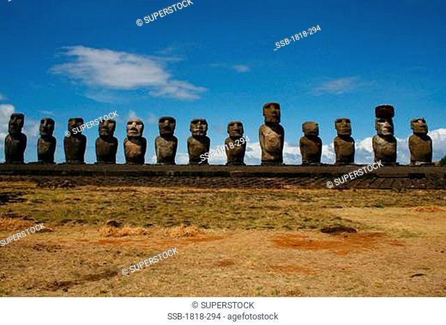 Moai statues on a hill, Rano Raraku, Ahu Tongariki, Easter Island, Chile