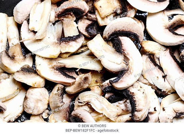 Sliced agaricus mushroom texture