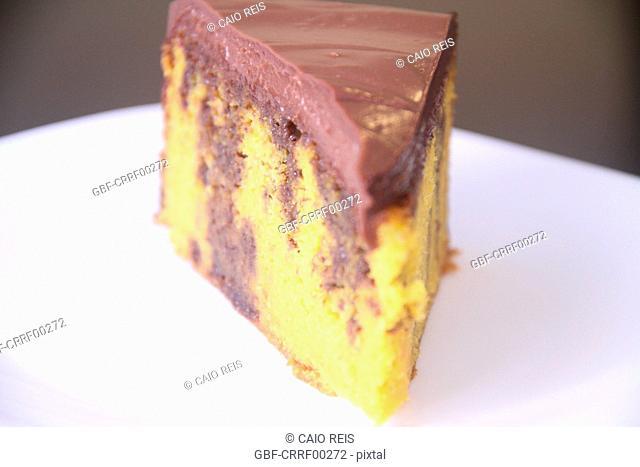 Piece of chocolate and carrots cake, São Paulo, Brazil