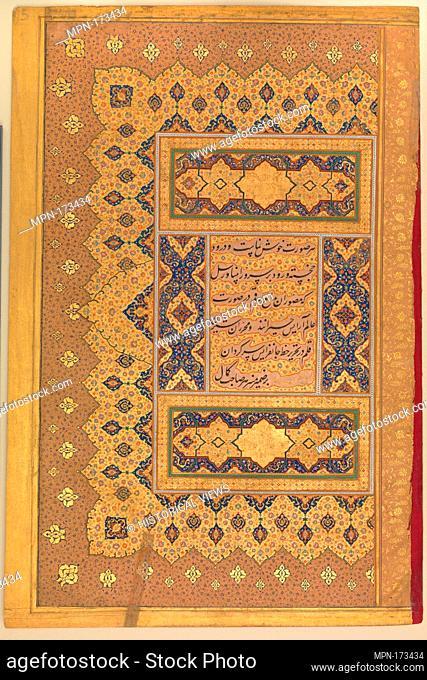Unwan, Folio from the Shah Jahan Album. Calligrapher: Mir 'Ali Haravi (d. ca. 1550); Object Name: Album leaf; Date: recto and verso: ca