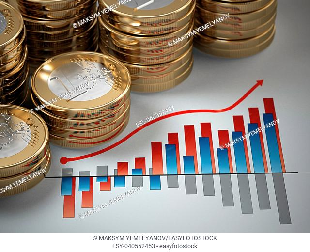 Financial concept. Euro coins on graph. 3d