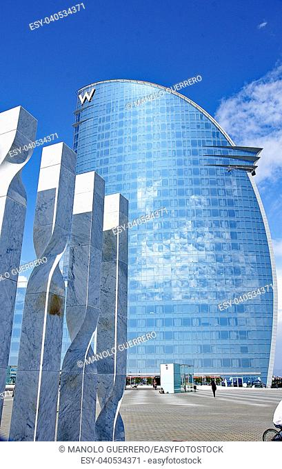 Modern glass building in Barcelona, Catalunya, Spain