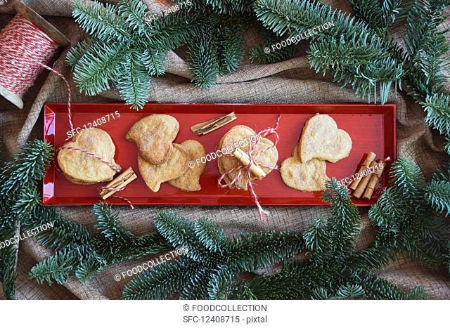 Heart shaped cookies with cinnamon and sugar (Christmas)