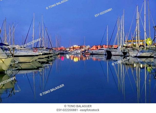 Beautiful night blue marina in Mediterranean sea