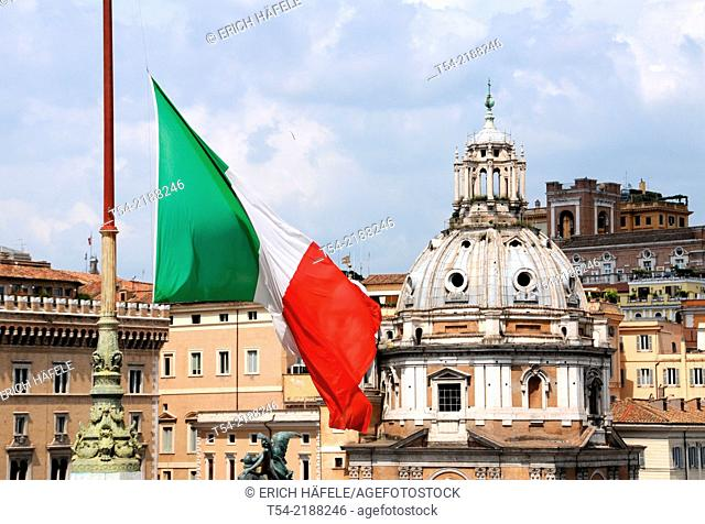 Italian national flag hangs at half-mast in front of the Roman Forum