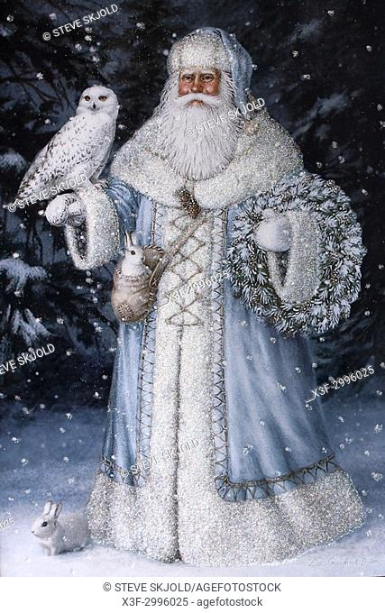 Liz Goodrick-Dillion greeting card of Father Christmas with owl and rabbits in white and blue suit. St Paul Minnesota MN USA