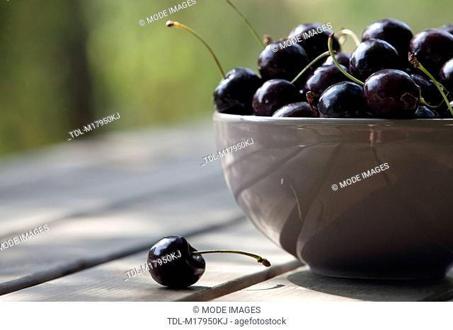 Black cherries in a ceramic bowl, cropped