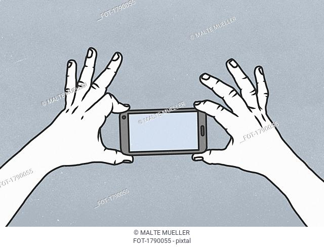 Two hands holding a smart phone