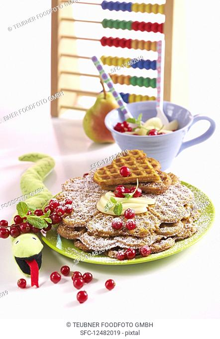 Sweet potato waffles with pear compote and redcurrants