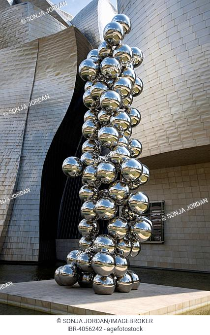 Sculpture, Guggenheim Museum Bilbao, by Frank Gehry, Bilbao, Basque Country, Biscay Province, Spain