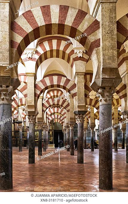 Indoors of Cathedral and Mosque of Cordoba, Cordoba, Spain, Europe