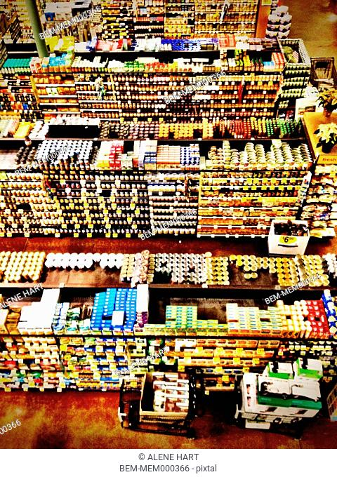 Overhead view of grocery store