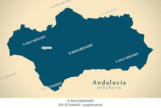 Modern Map - Andalusia Spain ES illustration