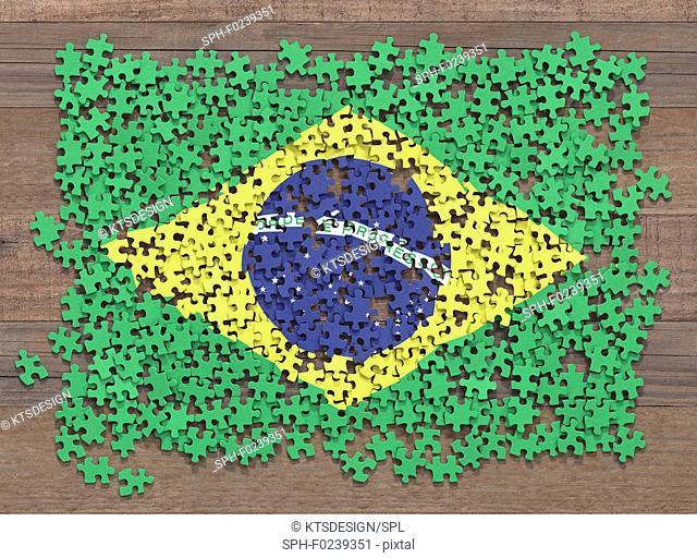 American flag jigsaw puzzle, illustration
