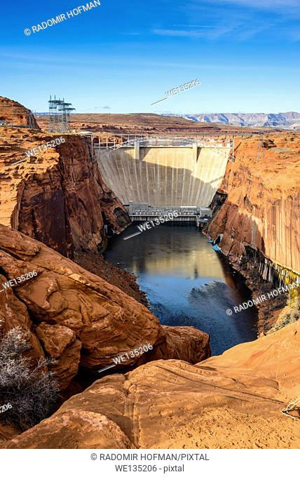 Glen Canyon Dam is a concrete arch dam on the Colorado River in northern Arizona, USA