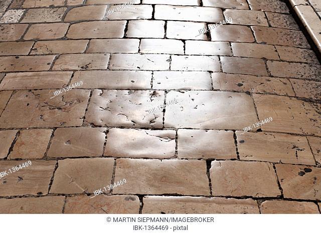 Old stone pavement in the old town of Zadar, Dalmatia, Croatia, Europe