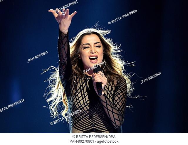 Armenia's Iveta Mukuchyan performs the song 'LoveWave' during rehearsals for the first semifinal of the 61st annual Eurovision Song Contest (ESC) at the...