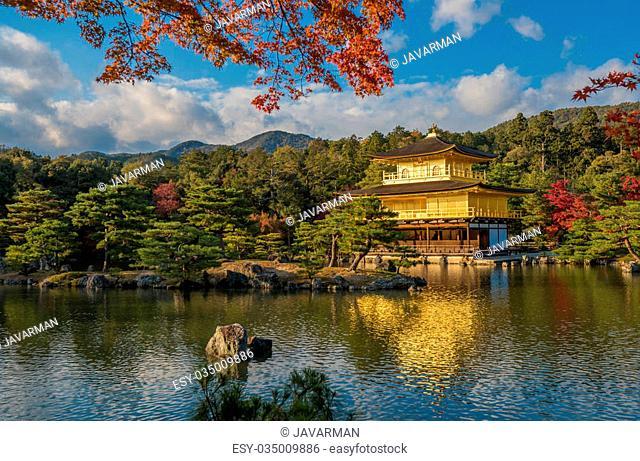 Kinkaku-ji buddhist temple Golden pavilion, Kyoto, Japan