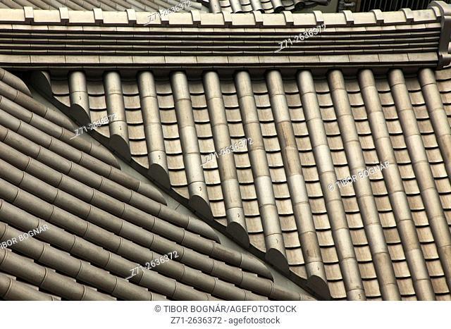 Japan, Tokyo, Kabukiza Theatre, roof, tiles, architecture detail,