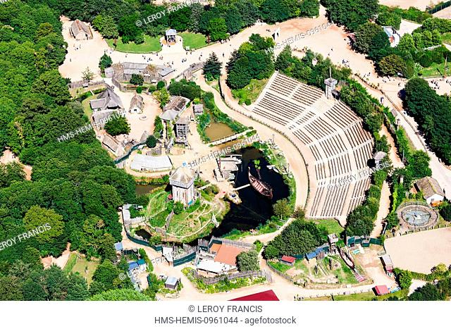 France, Vendee, Les Epesses, Le Puy du Fou, attactions and leisure parc, the vikings (aerial view)