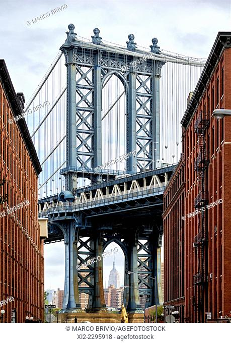 Manhattan bridge view from Dumbo, Brooklyn, New York, USA