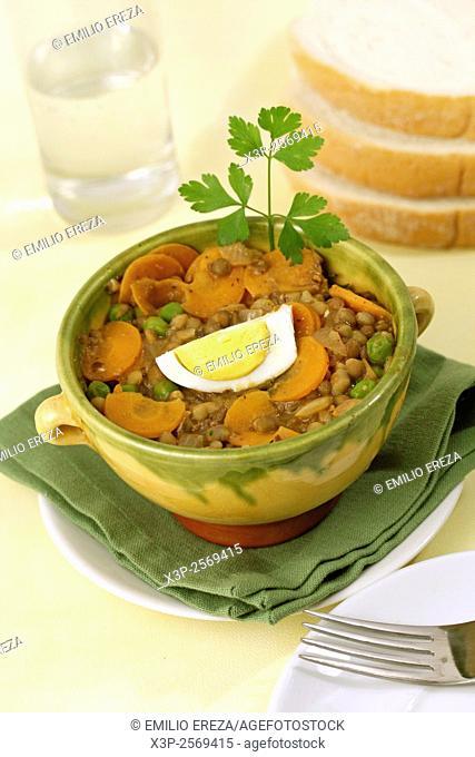 Lentils with vegetables