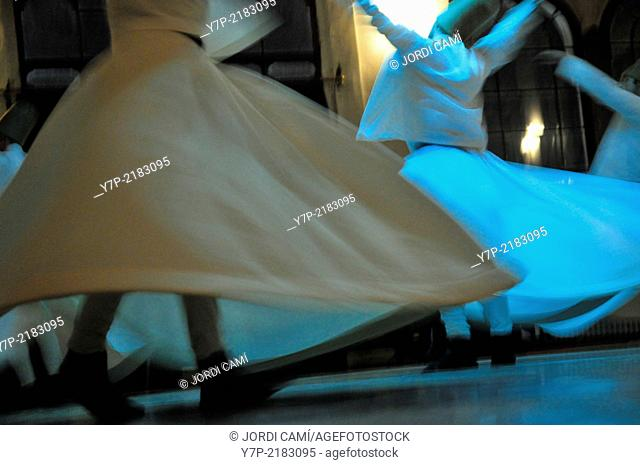Whirling Dervishes performing the Sema ceremony, Istanbul, Turkey