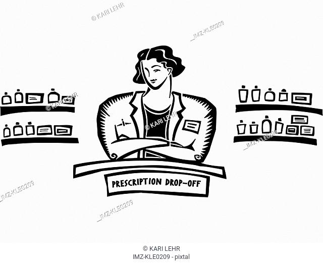 A pharmacist standing behind the counter of a prescription drop-off
