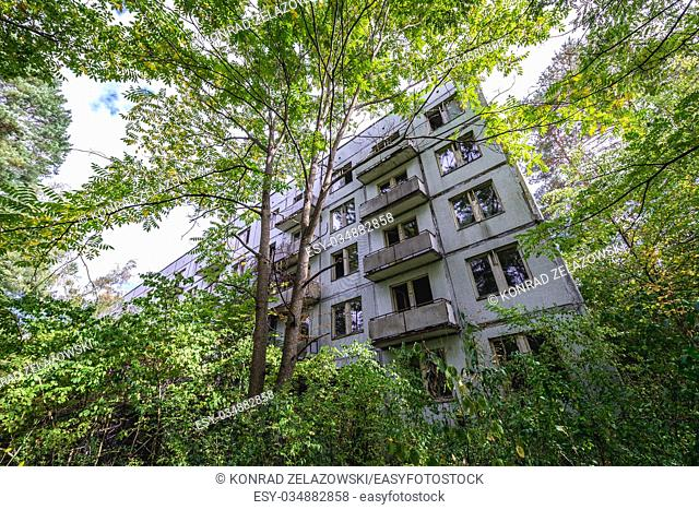 Block of flats in Chernobyl-2 military base, Chernobyl Nuclear Power Plant Zone of Alienation area around the nuclear reactor disaster in Ukraine