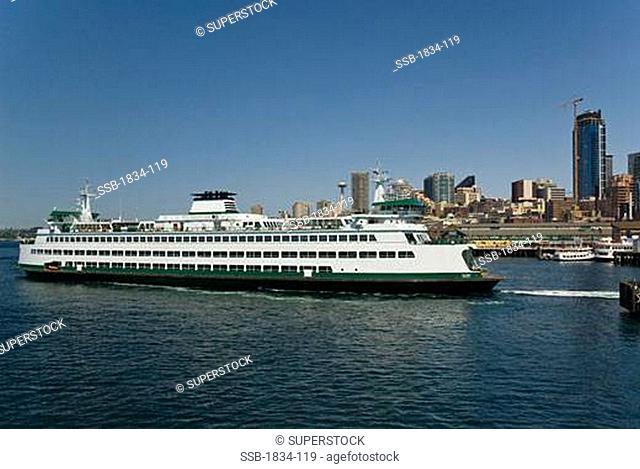 Ferry at a harbor, Seattle, Washington State, USA