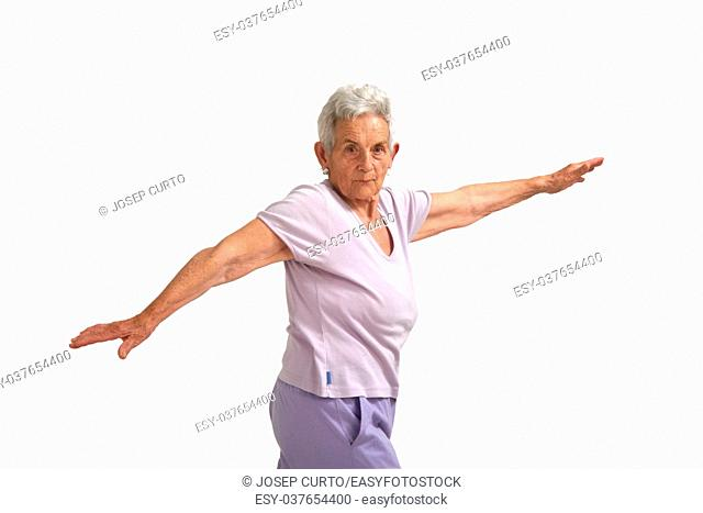 Senior woman doing yoga, isolated