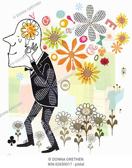 Collage of happy man surrounded by flowers thinking