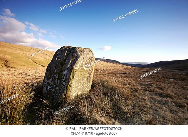 Maen Mawr Standing Stone in the Brecon Beacons, South Wales, UK