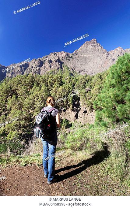 Hiker at the footpath of Los Brecitos by the Caldera de Taburiente, Parque Nacional de la Caldera de Taburiente, UNESCO biosphere reserve, La Palma