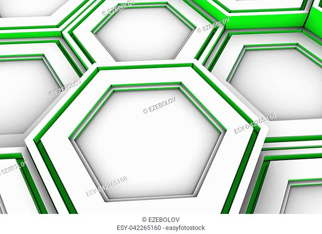 Abstract background made of white hexagons with green glowing sides, wall of hexagons, 3d render illustration