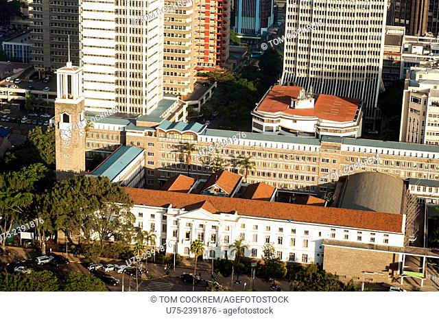 Aerial view of City Hall, Nairobi CBD, Kenya