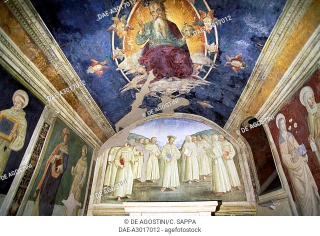 Frescoes in the Rose chapel, Basilica of St Mary of the Angels, 1684, by Galeazzo Alessi (1512-1572), Assisi (UNESCO World Heritage List, 2000), Umbria