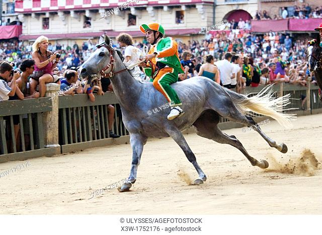 trial run, contrada of the woods, palio of siena, siena, tuscany, italy, europe